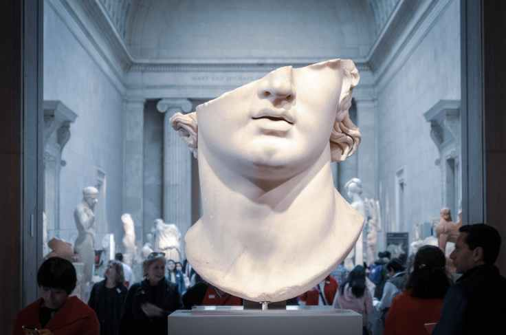 white head bust in museum
