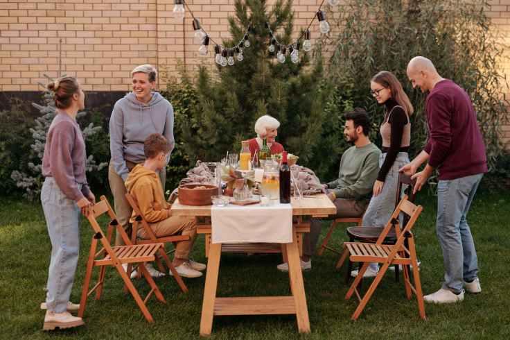 family having picnic on terrace